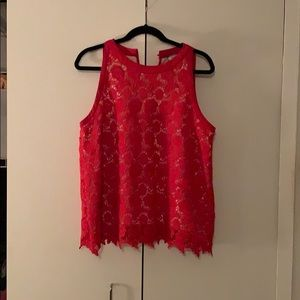 Red lace (nude lined) tank top